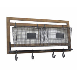 Wooden Frame Wall Baskets and Hooks