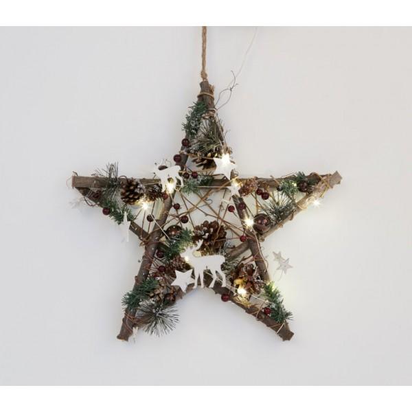 Festive LED Hanging Wood Star
