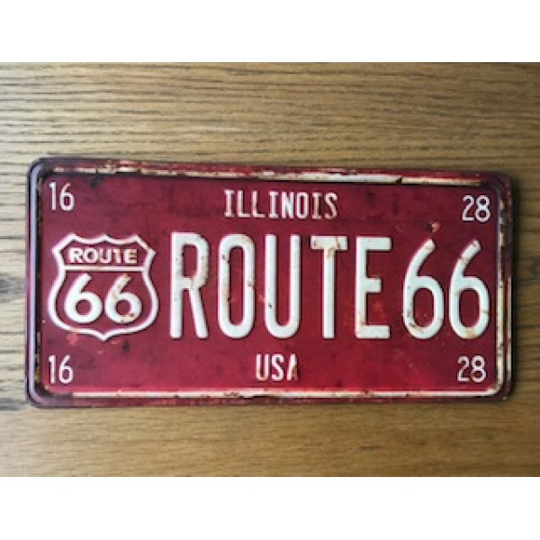 Route 66 Illinois State USA Number Plate
