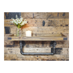 Wooden Industrial Pipe Shelf