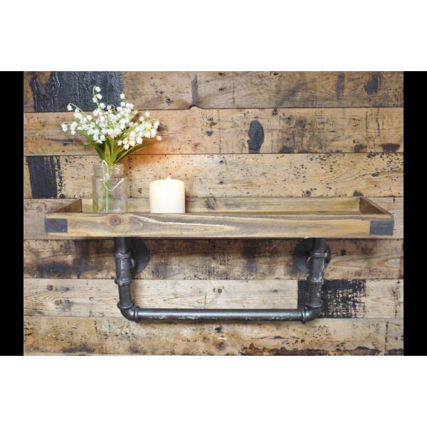 Wooden Industrial Pipe Shelf