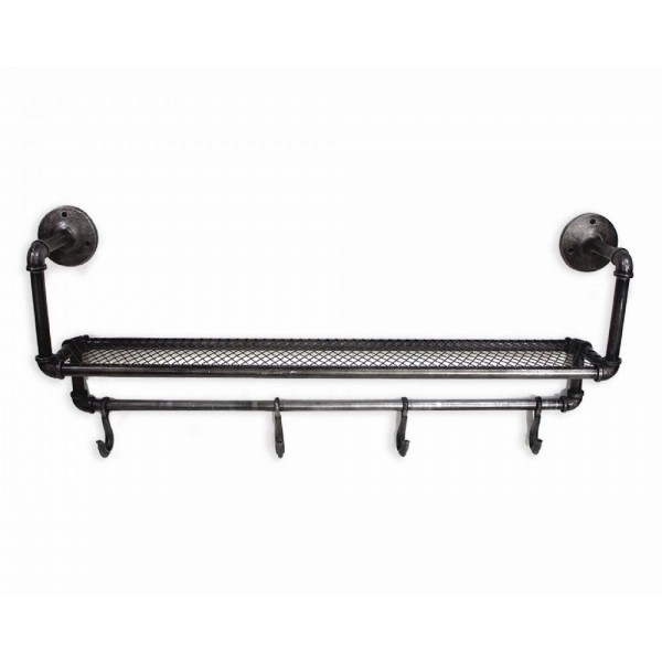 Industrial Pipe Shelf with 4 Hooks