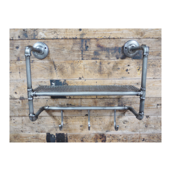 Industrial Pipe Shelf with 3 Hooks
